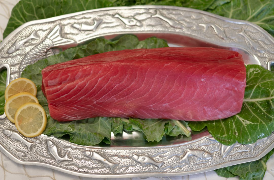 tuna slab of marbled red color