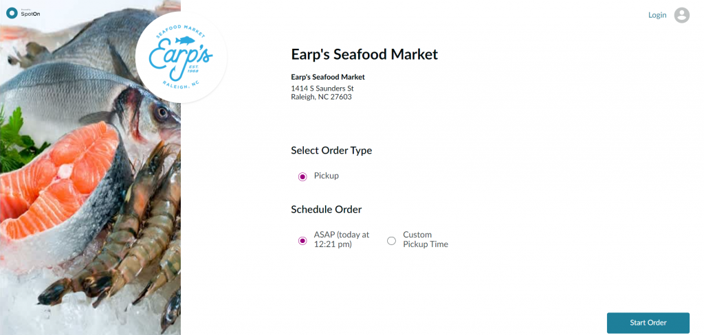 Earp's online ordering button